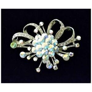 Vtg 50's AB RIVOLI RHINESTONE BROOCH Pin Jewelry